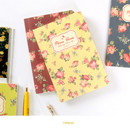 Yellow - Blooming flower pattern lined notebook small