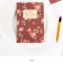 Red - Blooming flower pattern lined notebook small