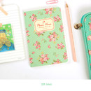 Mint - Blooming flower pattern lined notebook small