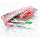 Pink - Mesh travel zipper slim pouch ver.2