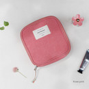 Rose pink - Wish blossom mind compact zipper pouch