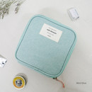 Mint blue - Wish blossom mind compact zipper pouch
