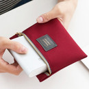 Burgundy - Basic pattern small zipper pouch ver.2
