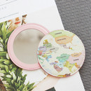 Pastel - World map pattern round handy mirror