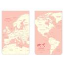 Pink - World map pattern wirebound lined notepad