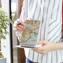 Retro - World map pattern wirebound lined notepad