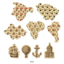 Antique - World map travel ground garland