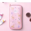 Pink - Little forest zip around pencil pouch