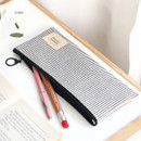 Stripe - Basic coated cotton zipper pen pencil case
