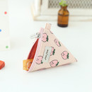 Peach - Jam Jam pattern triangle zipper pouch