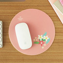 Pink flower pattern standard round mouse pad