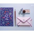 Navy - illustration pattern letter paper and envelope set