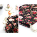 Detail of Vintage flower pattern cotton drawstring pouch