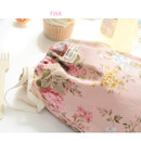 Pink - Vintage flower pattern cotton drawstring pouch
