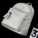 Light gray - Nuevo mini office leather backpack with tassel