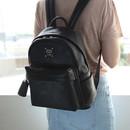 Nero black - Nuevo mini office leather backpack with tassel