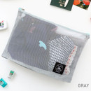Gray - Window blows large mesh zipper pouch