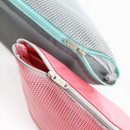 Detail of Window blows large mesh zipper pouch