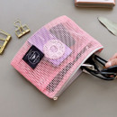 Pink - Window blows small mesh zipper pouch
