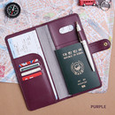 Purple - Travel RFID blocking long passport case