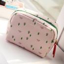 Pink tree - Rim pattern cotton zipper small pouch