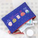 Blue sweets - Rim pattern cotton slim zipper pouch (Large)