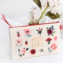Rose like - Rim pattern cotton slim zipper pouch (Large)