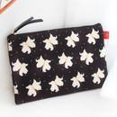 Lily - Rim pattern cotton slim zipper pouch (Large)