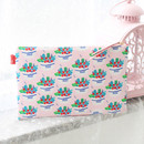Yogurt - Rim pattern cotton slim zipper pouch (Large)