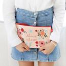 Think about - Rim pattern cotton slim zipper pouch (Large)