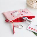Pink alpaca - Rim pattern cotton slim zipper pouch