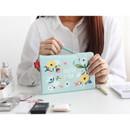 Withyou mint - Rim pattern cotton slim zipper pouch