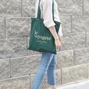 Le voyageur green cotton shoulder tote bag