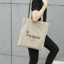 Le voyageur beige cotton shoulder tote bag