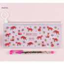 Red fox - Pattern bling clear zip lock small pouch