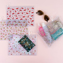 Pattern bling clear zip lock medium pouch