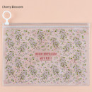 Cherry blossom - Pattern bling clear zip lock medium pouch