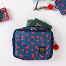 Cherry - Pop art square multi zipper pouch