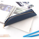 Navy - Triangle synthetic leather zipper pencil case