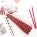Burgundy - Triangle synthetic leather zipper pencil case