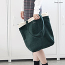 Deep green - Around'D corduroy line shoulder bag tote