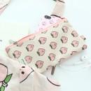 Peach - Jam Jam pattern zipper pouch
