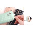 Detail of Pastel check pattern zipper pencil case