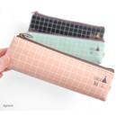 Apricot - Pastel check pattern zipper pencil case