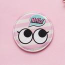 Baby pink - Hello cute illustration round hand mirror