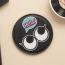 Black - Hello cute illustration round hand mirror