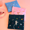 In space medium cotton zipper pouch
