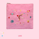 Love - In space medium cotton zipper pouch