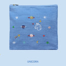 Unicorn - In space medium cotton zipper pouch