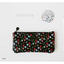 Black - Licoco flower pattern zipper pencil case